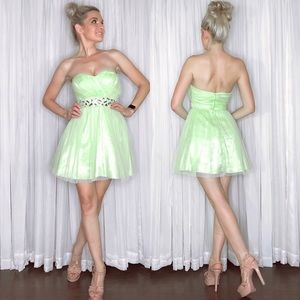 Green Fit Flair Homecoming Dress